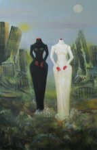 Herwig Maria Stark, the black and the white bride, 114 x 179 cm, Paper, Acryl on Belgian canvas, 2007