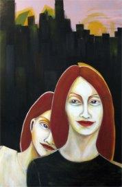 Herwig Maria Stark, sisters, 105 x 160 cm, Acryl on Belgian canvas, 2008