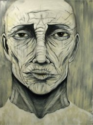 Herwig Maria Stark, Omega-Alpha no 1, mixed media (charcoal, ink, acrylic, oil) on canvas, 2008