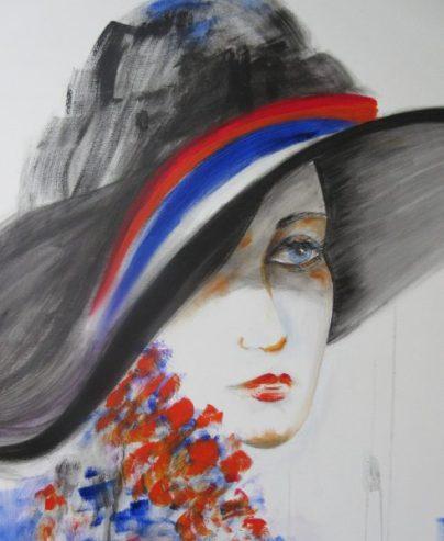 Regina Merta, DAME MIT HUT no. I, 100 x 80 cm, Acryl auf Leinen, 2014