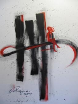 Regina Merta, Das Bewußtseins des Intellekts - der gefundene Buchstabe, 100 x 120 cm, Acryl auf Leinen, 2011
