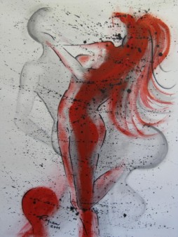 Regina Merta, Frau im Lebenstanz, 60 x 80 cm, Acryl auf Leinen, 2011