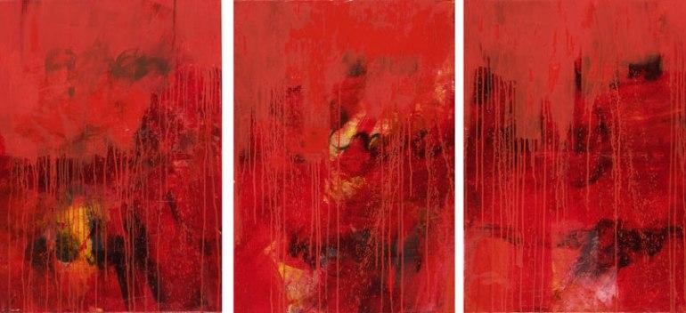 Gerlinde Kosina, Trilogie in Red, 100 x 240 cm (Triptychon) , Öl auf Leinwand, 2013
