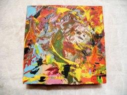 Herwig Maria Stark, ART CUBE 1/7, size 20 x 20 x 6 cm, Mixed media on wooden cube