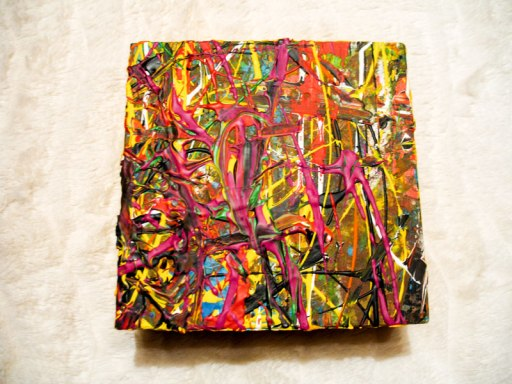Herwig Maria Stark, ART CUBE 3/12, size 15 x 15 x 6 cm, Mixed media on wooden cube