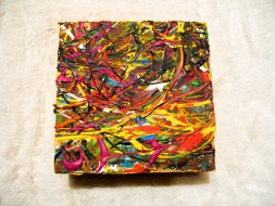 Herwig Maria Stark, ART CUBE 3/17, size 15 x 15 x 6 cm, Mixed media on wooden cube