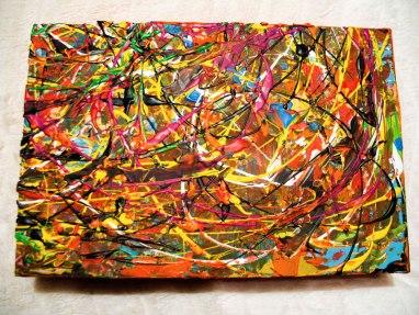 Herwig Maria Stark, ART CUBE 3/20, size 20 x 30 x 6 cm, Mixed media on wooden cube