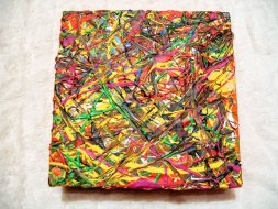 Herwig Maria Stark, ART CUBE 3/9, size 20 x 20 x 6 cm, Mixed media on wooden cube