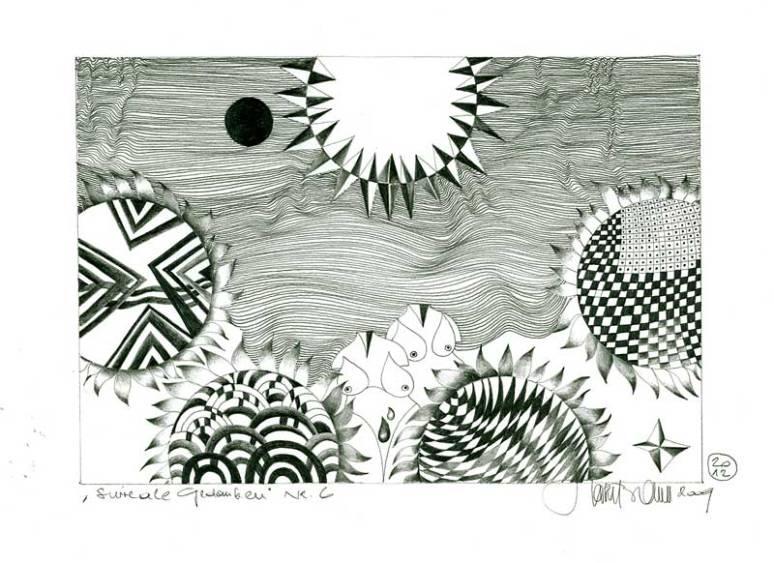 Herbert Bauer, Surreale Gedanken No. 6, Orig. Grafitstiftzeichnung, 30 x 21 cm, überarbeitet , 2012