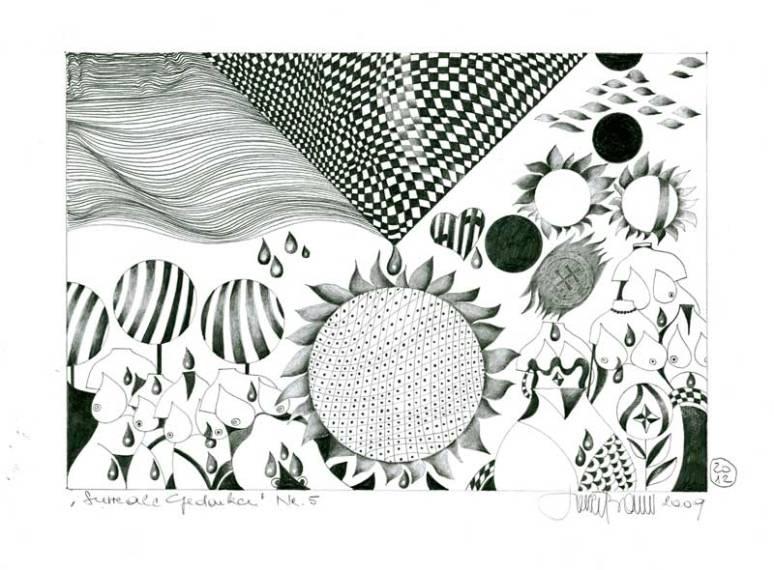 Herbert Bauer, Surreale Gedanken no5, Orig. Grafitstiftzeichnung, 30 x 21 cm, überarbeitet , 2012