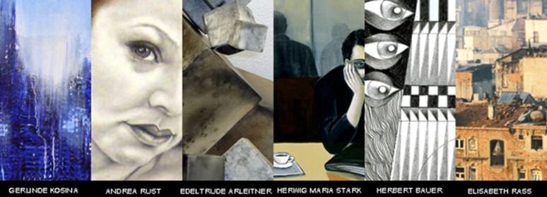 Collage aus Arbeiten der ausstellenden KünstlerInnern