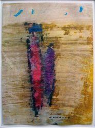 Hannes Neuhold, AM STRAND, 21 x 29,5 cm, Ölkreide auf Papier, Passepartout, gerahmt, 2009