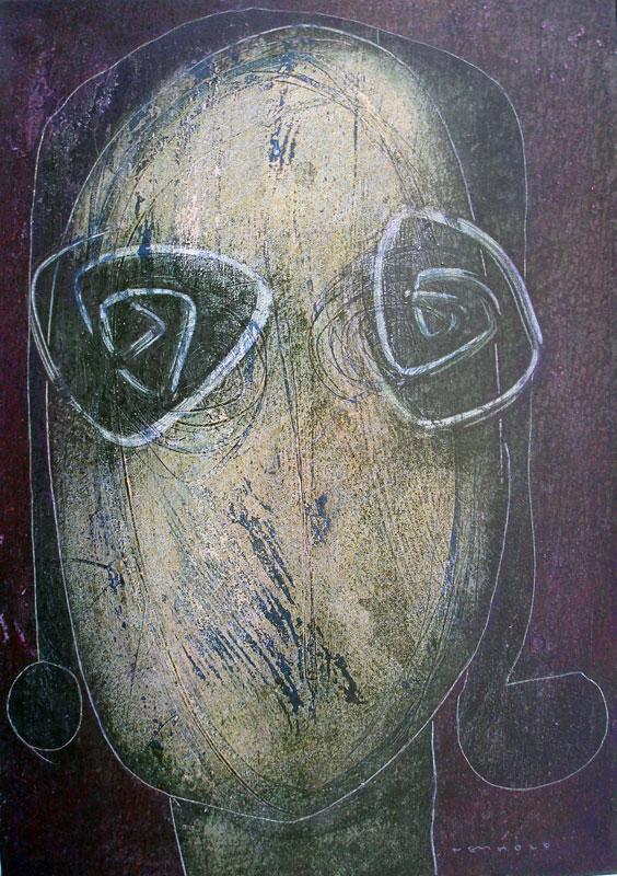 Hannes Neuhold, SEHEN, Triptychon, je 50 x 70 x 4 cm, Mischtechnik (Öl, Dispersion, Acryl, Farbstift, Tusche, Pigmente) auf Leinwand, aufgezogen auf Keilrahmen, 2010