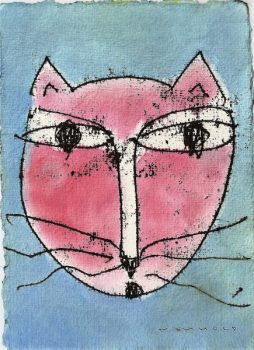 Hannes Neuhold, KATZE no 4, mixed media on handcrafted paper, 21 x 15 cm