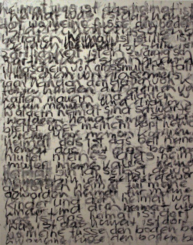 GERLINDE KOSINA, HEIMAT, Schriftbild, Öl auf Leinwand, 50 x 40 cm, 2014