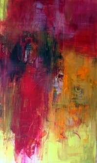 GERLINDE KOSINA, BEGEGNUNGEN NO. 1, Acrylcollage auf Leinwand, 100 x 60 cm, 2012