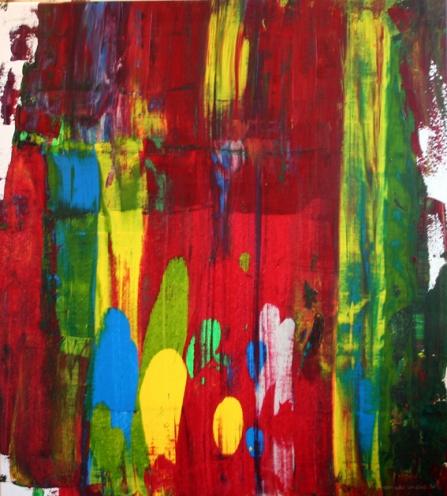 GERLINDE KOSINA, BEGEGNUNGEN NO. 3, Acryl auf Leinwand, 77 x 85 cm, 2012
