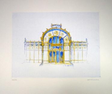 GERLINDE KOSINA, KARLSPLATZ, Original-Ätzradierung, Handaquarelliert, nummeriert und signiert auf Bütten, Auflage 199 Stück, Blattgröße 50 x 60 cm