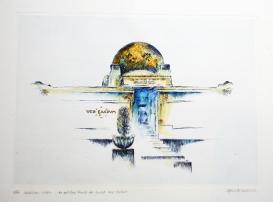 GERLINDE KOSINA, SECESSION, Original-Ätzradierung, Handaquarelliert, nummeriert und signiert auf Bütten, Auflage 199 Stück, Blattgröße 50 x 60 cm