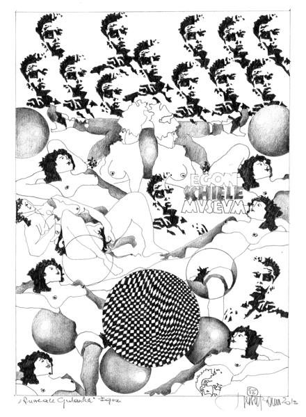 Herbert Bauer, Schiele, Serie Surreale Gedanken, Graphitstift auf Papier