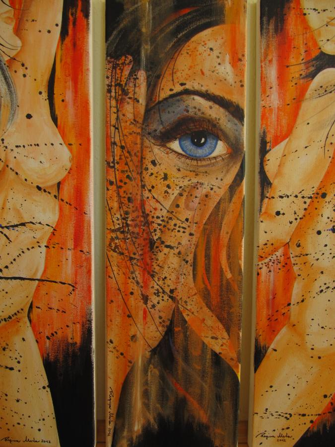 Regina Merta, 1-3 Momente der Vergänglichkeit I+II+III - 90x100cm (a 30x100cm) Acryl auf Leinen 2012