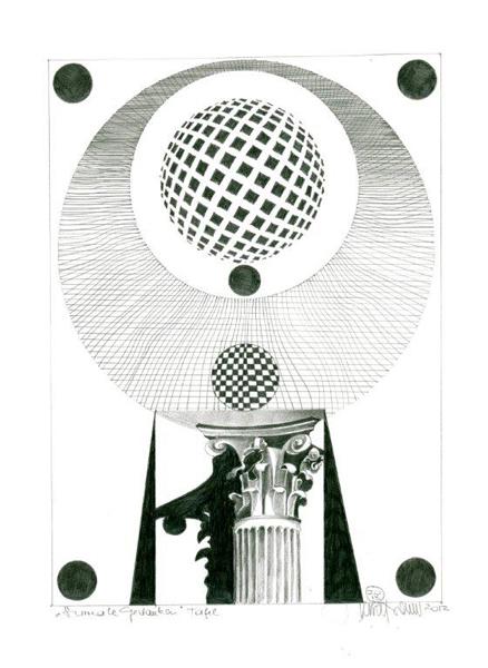 """Herbert Bauer, TAFEL, Orig. Graphitstiftzeichnung, 30x21 cm, 2013, aus der Serie """"SURREALE GEDANKEN"""""""