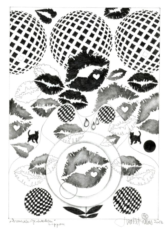 Herbert Bauer, LIPPEN, 30 x 21 cm, Graphitstift auf Papier, 2013