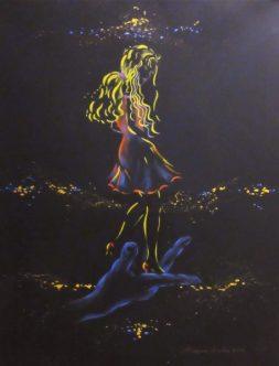Regina Merta, HIMMELSTANZ II, 80 x 60 cm, Acryl auf Leinen, 2017