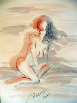 Regina Merta, LICHT UND SCHATTEN, Graphit, Kohlestift, Aquarell auf Papier, 50 x 40 cm, 2007