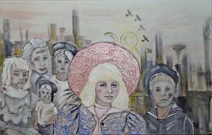 Herwig Maria Stark, Schatten der Vergangenheit, 66,5 x 102 cm, mixed media (Kohle,Acryl) auf Leinwand, 2014