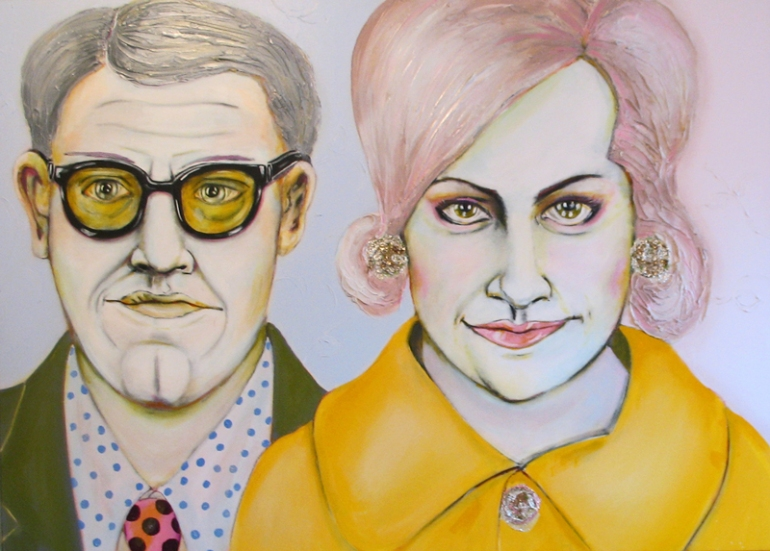 Herwig Maria Stark, THE BEAVER CLEAVERS -MUM AND DAD, 100 x 140 x 4 cm, mixed media, 2012_17