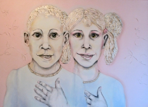 Herwig Maria Stark, THE BEAVER CLEAVERS -CLONE TWINS, 100 x 140 x 4 cm, mixed media, 2012_18