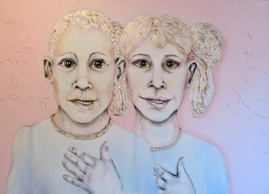 Herwig Maria Stark, THE BEAVER CLEAVERS -CLONE TWINS, 100 x 140 x 4 cm, mixed media, 2012_18
