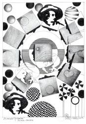"""Herbert Bauer, ALLEIN PHOBIE, Orig. Graphitstiftzeichnung, 30x21 cm, 2014, aus der Serie """"SURREALE GEDANKEN"""""""