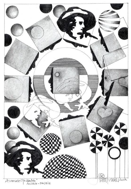 Herbert Bauer, Allein Phobie, 42 x 29 cm, Graphitstift auf Papier 2013,