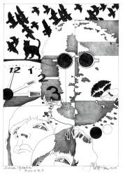 """Herbert Bauer, MUSIKIKONEN, Orig. Graphitstiftzeichnung, 30x21 cm, 2014, aus der Serie """"SURREALE GEDANKEN"""""""