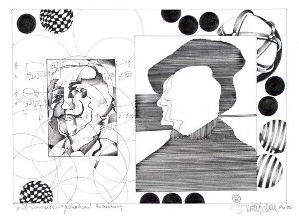 """Herbert Bauer, SAMSTAG, Orig. Graphitstiftzeichnung, 30x21 cm, 2014, aus der Serie """"""""REALES & SURREALES"""""""