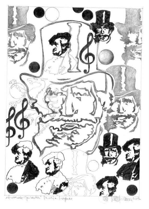 """Herbert Bauer, VERDI UND WAGNER, Orig. Graphitstiftzeichnung, 30x21 cm, 2013, aus der Serie """"SURREALE GEDANKEN"""""""