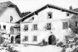 HERBERT BAUER, Alte Post Schladming, graphite on paper, 30 x 40 cm