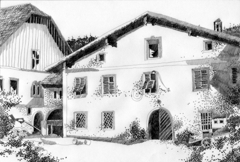 HERBERT BAUER, Alte Post Schladming, graphite on paper, 30 x 40 cm