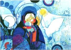 HERBERT BAUER, Mutter mit Kind, tempera on paper, 30 x 40 cm