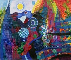 HERBERT BAUER, Phantastische Traumwelt, tempera on paper, 50 x 60 cm