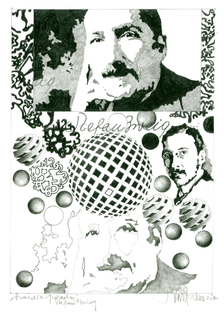 """Herbert Bauer, Stefan Zweig, Serie """"Surreale Gedanken"""", Graphitstift auf Papier, 30 x 21 cm, 2014"""