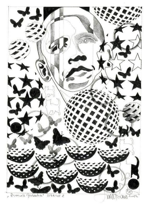 Herbert Bauer, VISAGE no. 2, Orig. Graphitstiftzeichnung, 30 x 21 cm, 2014