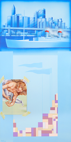 Diego Valentinuzzi, LA NUOVA CITTÁ, mixed media on canvas, 100 x 50 cm,