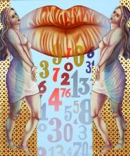 Diego Valentinuzzi, LENIGMA DEI NUMERI, mixed media on canvas, 60 x 50 cm,