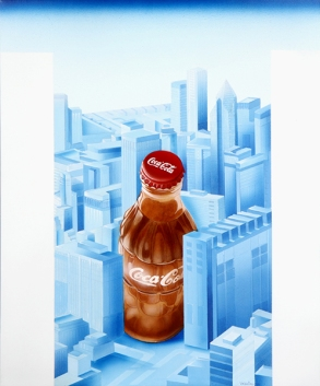 Diego Valentinuzzi, NEW YORK DALL'ALTO , mixed media on canvas, 60 x 50 cm,