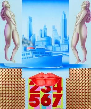 Diego Valentinuzzi, SALUTA DA NEW YORK , mixed media on canvas, 60 x 50 cm, 2013