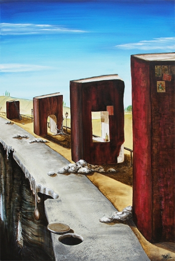 Jürgen Bley, BILDUNGSWEG, 100 x 80 cm, Acryl auf Leinwand