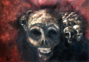 Jürgen Bley, FINSTERE GESTALTEN, 70 x 100 cm, Acryl auf Leinwand
